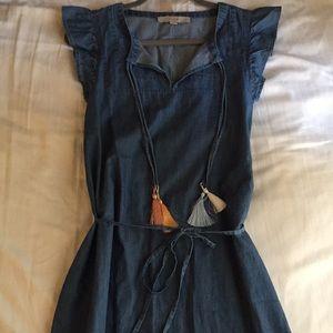LOFT chambray flutter sleeve dress